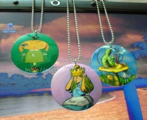 Alice in Wonderland hand painted necklaces